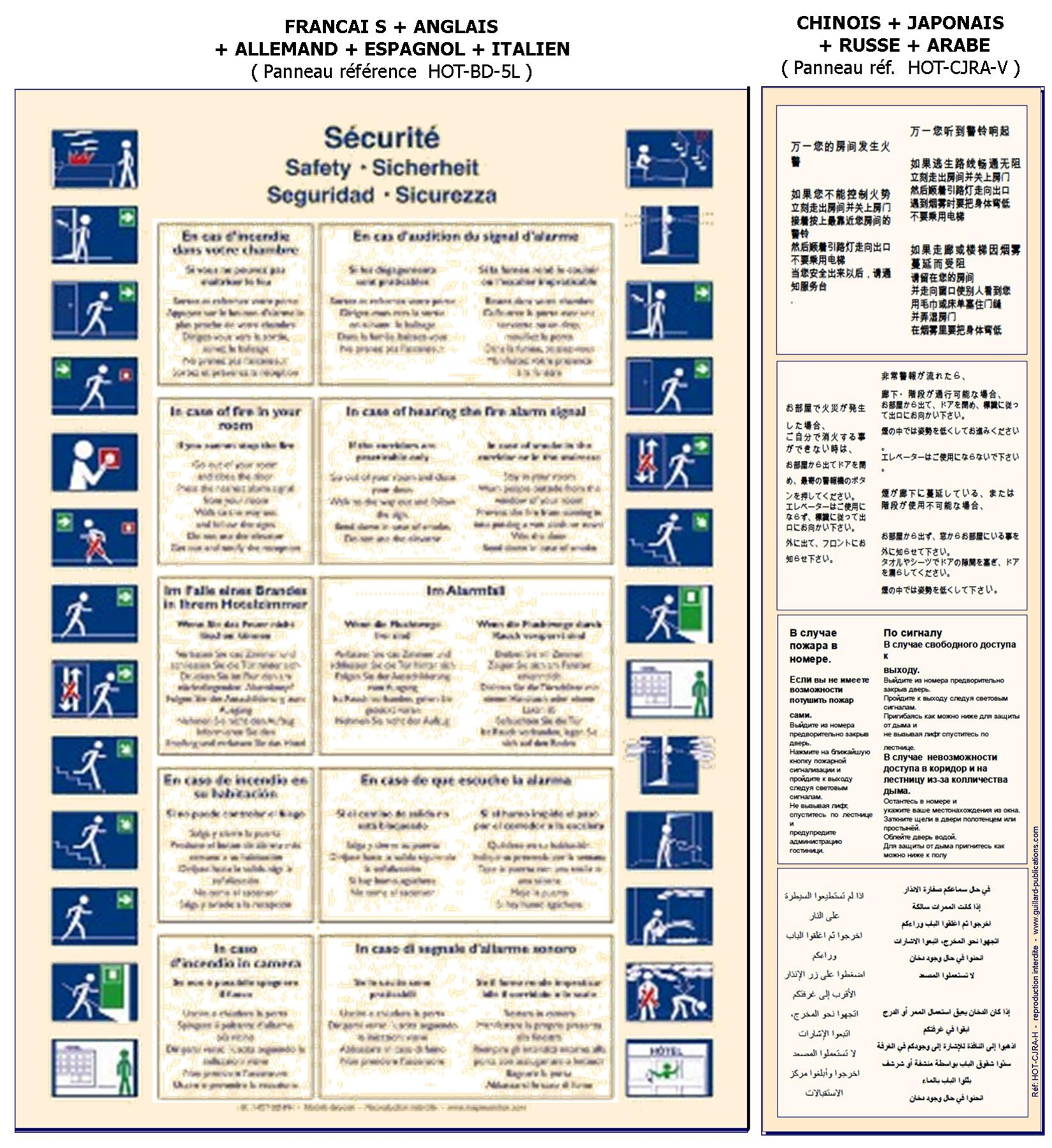 Panneau De Consignes De Sécurité Pour Chambre D'hôtel En CHINOIS + JAPONAIS