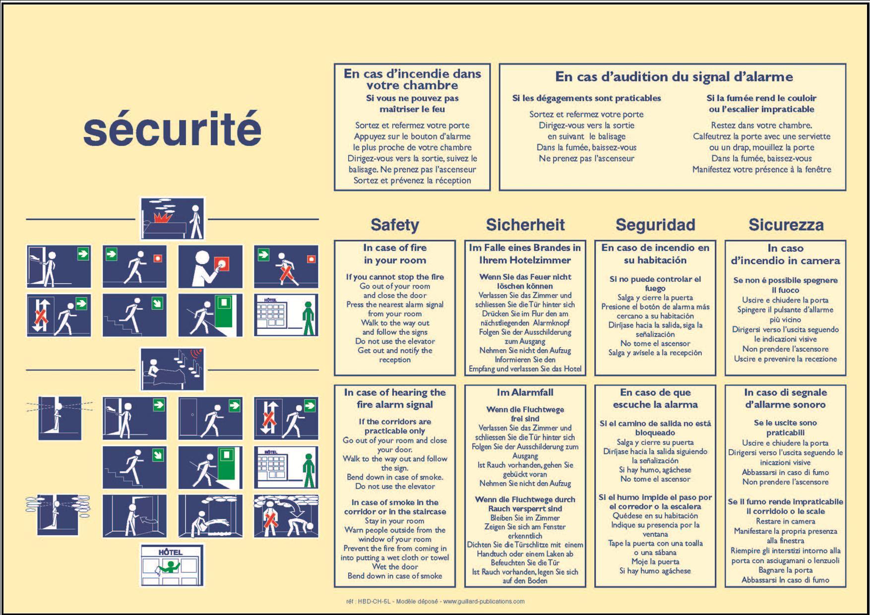 1c h hotel hbd ch 5l horiz panneau de consignes de for Chambre de la securite
