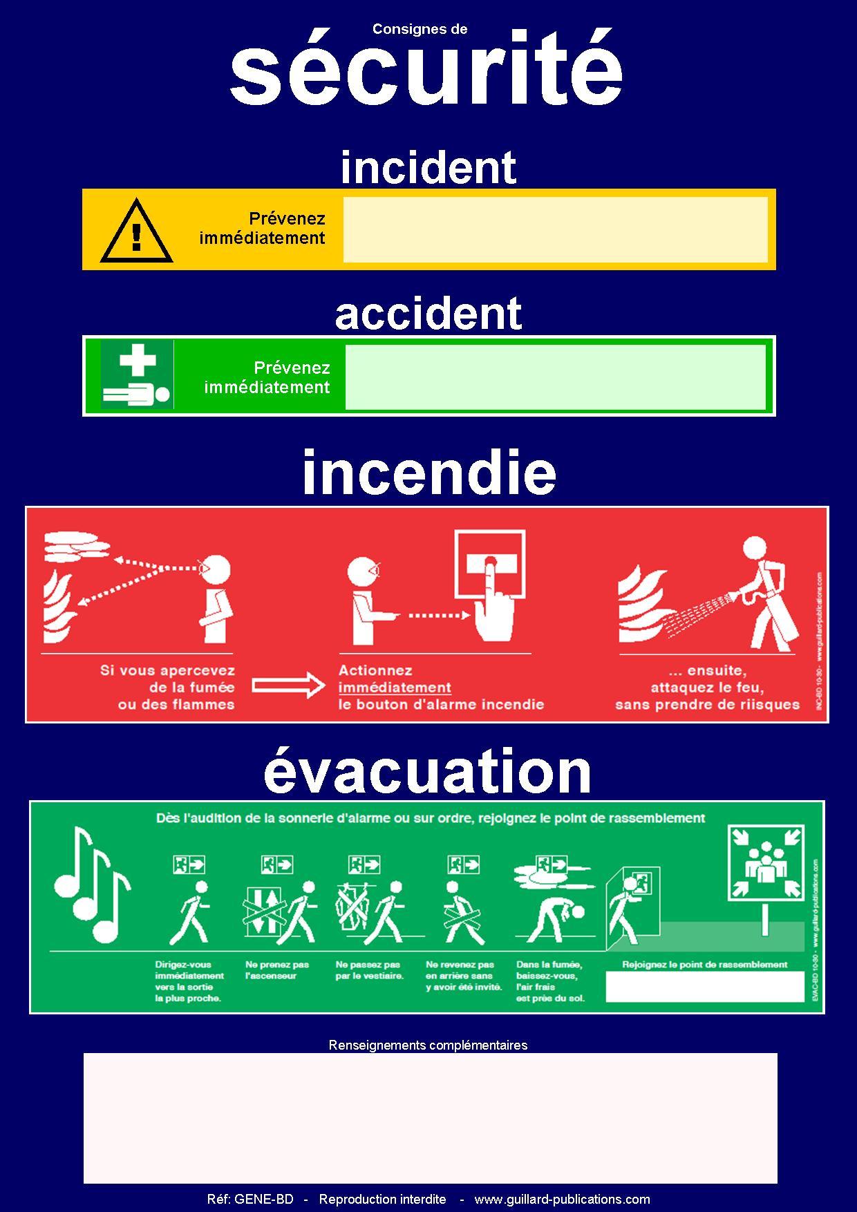 Panneaux de consignes de s curit incendie vacuation accident et incident guillard - Tout a l egout obligatoire ...