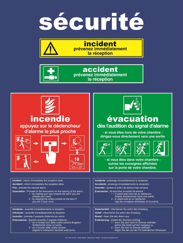 panneaux de consignes de s�curit� incendie, �vacuation