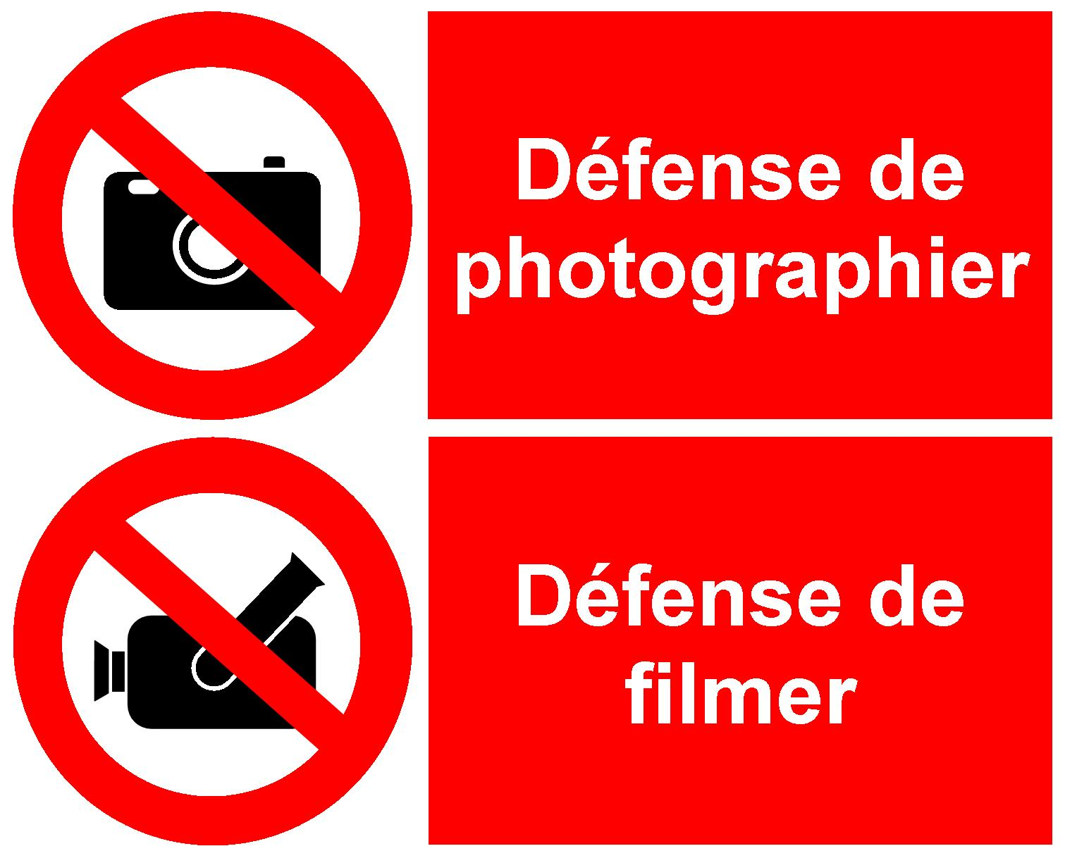Signal d'interdiction de PHOTOGRAPHIER ET DE FILMER - INT.PHOTOFILM