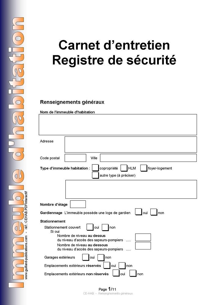 carnet d 39 entretien registre de securite pour immeuble d. Black Bedroom Furniture Sets. Home Design Ideas