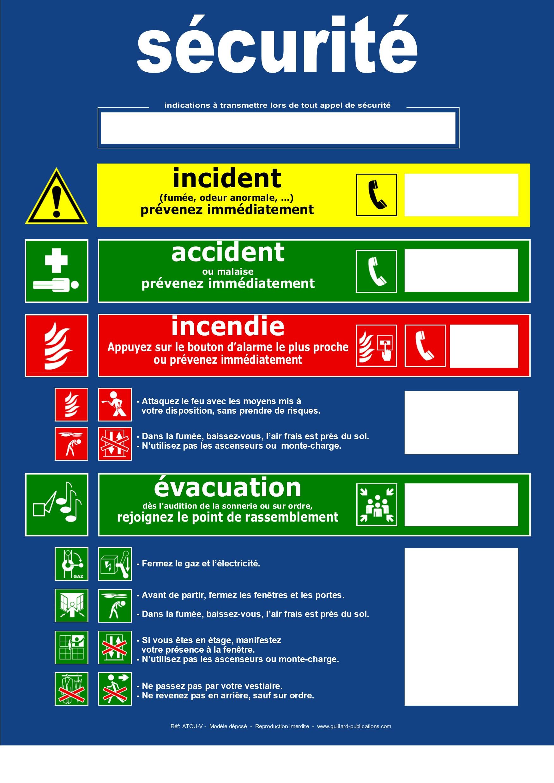 panneaux de consignes de s u00e9curit u00e9 incendie   u00e9vacuation  accident et incident  guillard